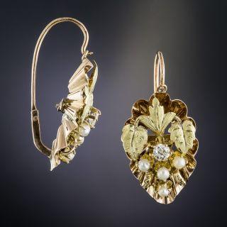 Victorian Diamond and Pearl Leaf Motif Earrings