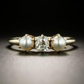 Victorian Diamond and Pearl Three-Stone Ring - 3