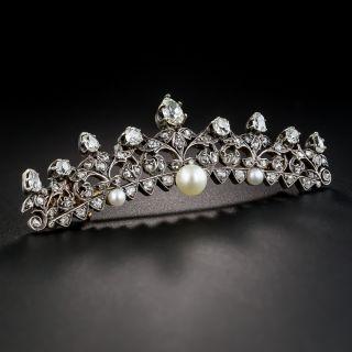 Victorian Diamond and Pearl Tiara Pin - 1