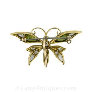 Victorian Diamond and Peridot Butterfly  Watch Pin