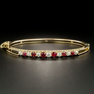 Victorian Diamond and Red Spinel Bangle Bracelet - 2