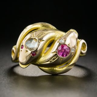 Victorian Diamond and Ruby Double Snake Ring  - 2