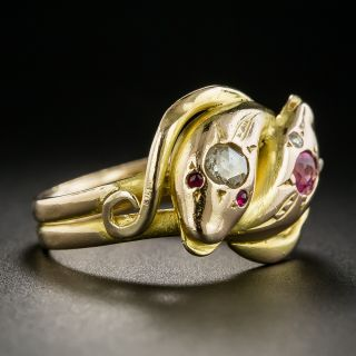 Victorian Diamond and Ruby Double Snake Ring