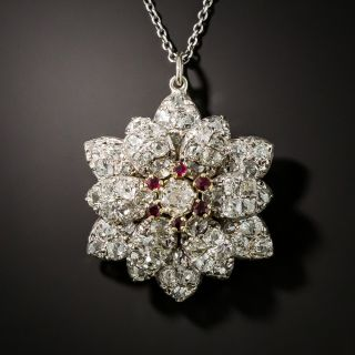 Victorian Diamond and Ruby Flower Pendant - 2