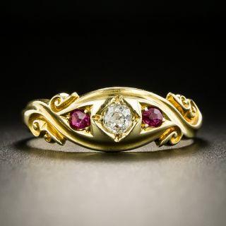 Victorian Diamond and Ruby Gypsy Ring, Circa 1902 - 2