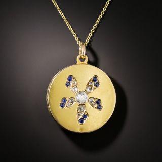 Victorian Diamond and Sapphire Flower Motif Locket - 2