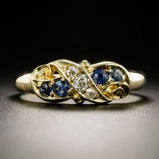 Victorian Diamond and Sapphire Swirl Ring - 2