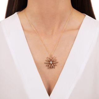 Victorian Diamond and Seed Pearl Starburst Pendant