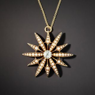 Victorian Diamond and Seed Pearl Starburst Pendant - 1