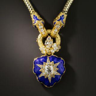 Antique Diamond Blue Enamel Heart Locket Necklace - 2