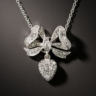 Victorian Diamond Bow Necklace - 3