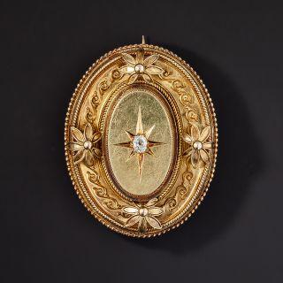 Victorian Diamond Brooch Locket - 1