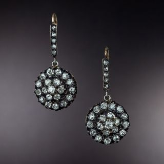 Victorian Diamond Cluster Dangle Earrings  - 1
