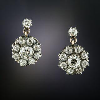 Victorian Diamond Cluster Drop Earrings - 3