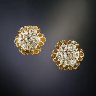 Victorian Diamond Cluster Stud Earrings - 2