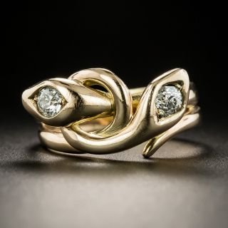 Victorian Diamond Double Snake Ring - 2