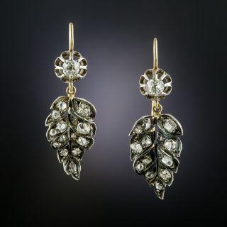 Victorian Diamond Drop Leaf Earrings - 2
