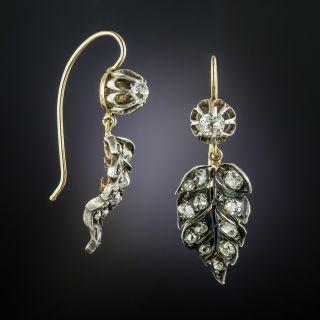 Victorian Diamond Drop Leaf Earrings