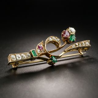 Victorian Diamond, Emerald, and Ruby Brooch