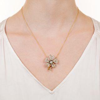 Victorian Diamond Flower Brooch/Pendant