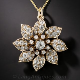 Victorian Diamond Flower Pendant - 1