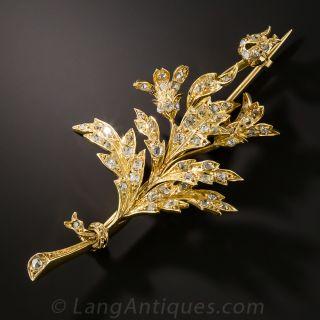 Victorian Diamond Oak Branch Brooch - 2