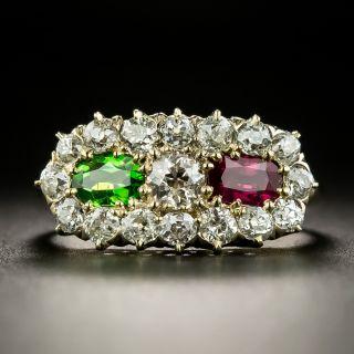 Victorian Diamond, Ruby and Demantoid Garnet Ring - 2