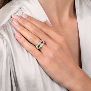 Victorian Diamond, Ruby and Demantoid Garnet Ring