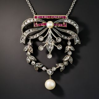 Victorian Diamond, Synthetic Ruby and Pearl Garland Necklace - 1