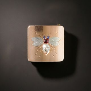 Victorian Diamond, Ruby and Sapphire Bee Brooch