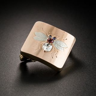 Victorian Diamond, Ruby and Sapphire Bee Brooch - 3