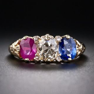 Victorian Diamond, Ruby and Sapphire Ring - 1