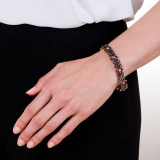 Victorian Diamond Ruby Flower and Scroll Bracelet