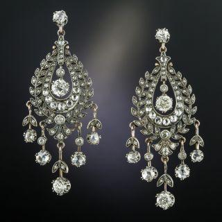 Victorian Diamond Silver over Gold Chandelier Earrings - 2