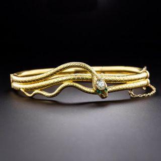 Victorian Diamond Snake Bangle Bracelet - 1
