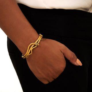 Victorian Diamond Snake Bangle Bracelet