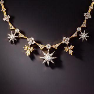 Victorian Diamond Star & Leaf Necklace - 1