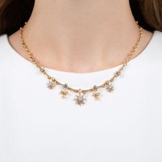 Victorian Diamond Star & Leaf Necklace