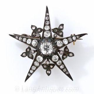 Victorian Diamond Star Pin - 1
