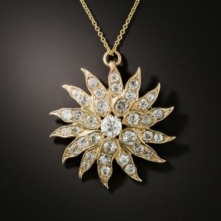 Victorian Diamond Sunburst Necklace - 2