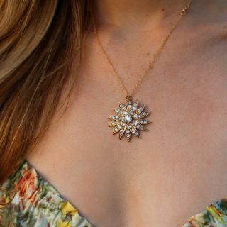 Victorian Diamond Sunburst Necklace