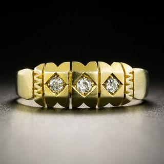Victorian Diamond Three Stone Wedding Band, Circa 1892 - 3