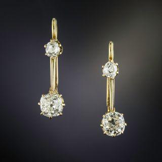 Victorian Double Diamond Drop Earrings - 1
