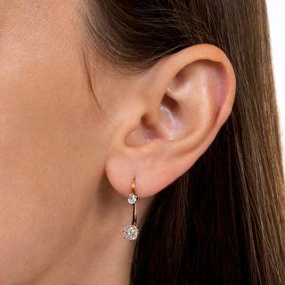 Victorian Double Diamond Drop Earrings
