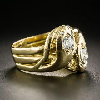 Victorian Double Diamond Snake Ring