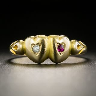 Victorian Double-Heart Ruby and Diamond Ring - 2