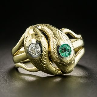 Victorian Double Snake Ring  - Size 9 1/2 - 2