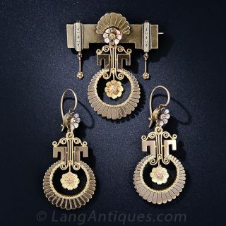 Victorian Earrings and Brooch - 1