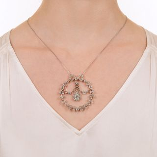 Victorian/Edwardian Diamond Garland Wreath Circle Necklace