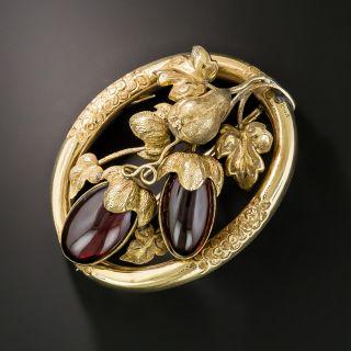 Victorian Eggplant Garnet Brooch - 2